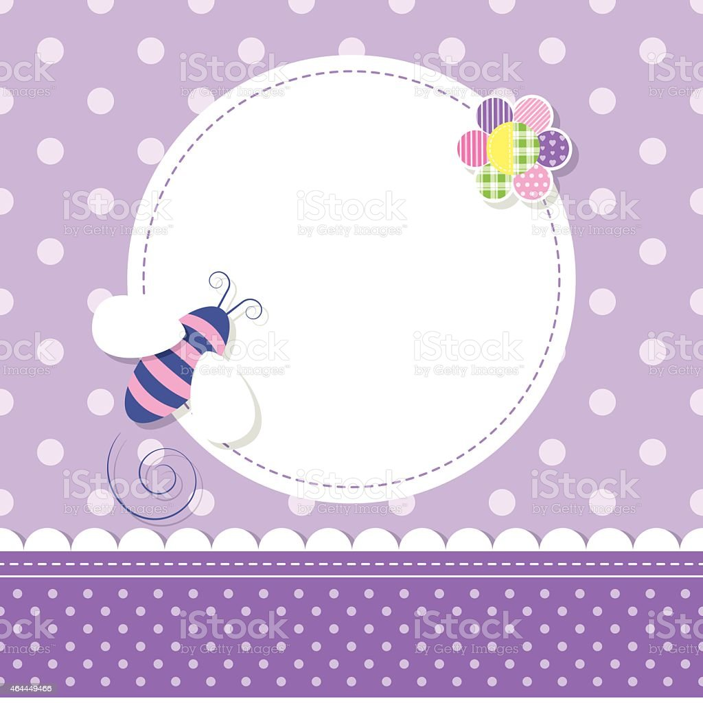 purple bee baby girl greeting card vector art illustration