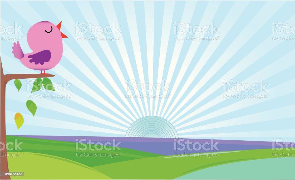 Purple bird on tree royalty-free stock vector art