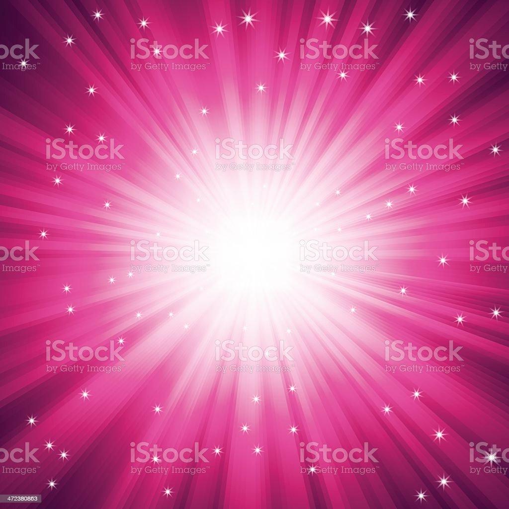 Purple burst of light with sparkles vector art illustration