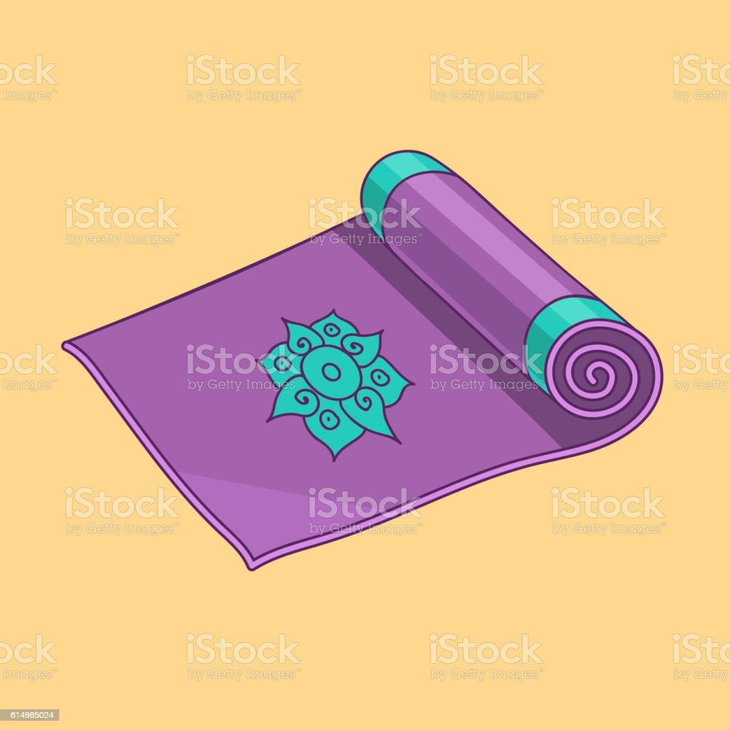 Purple cartoon vector yoga mat vector art illustration