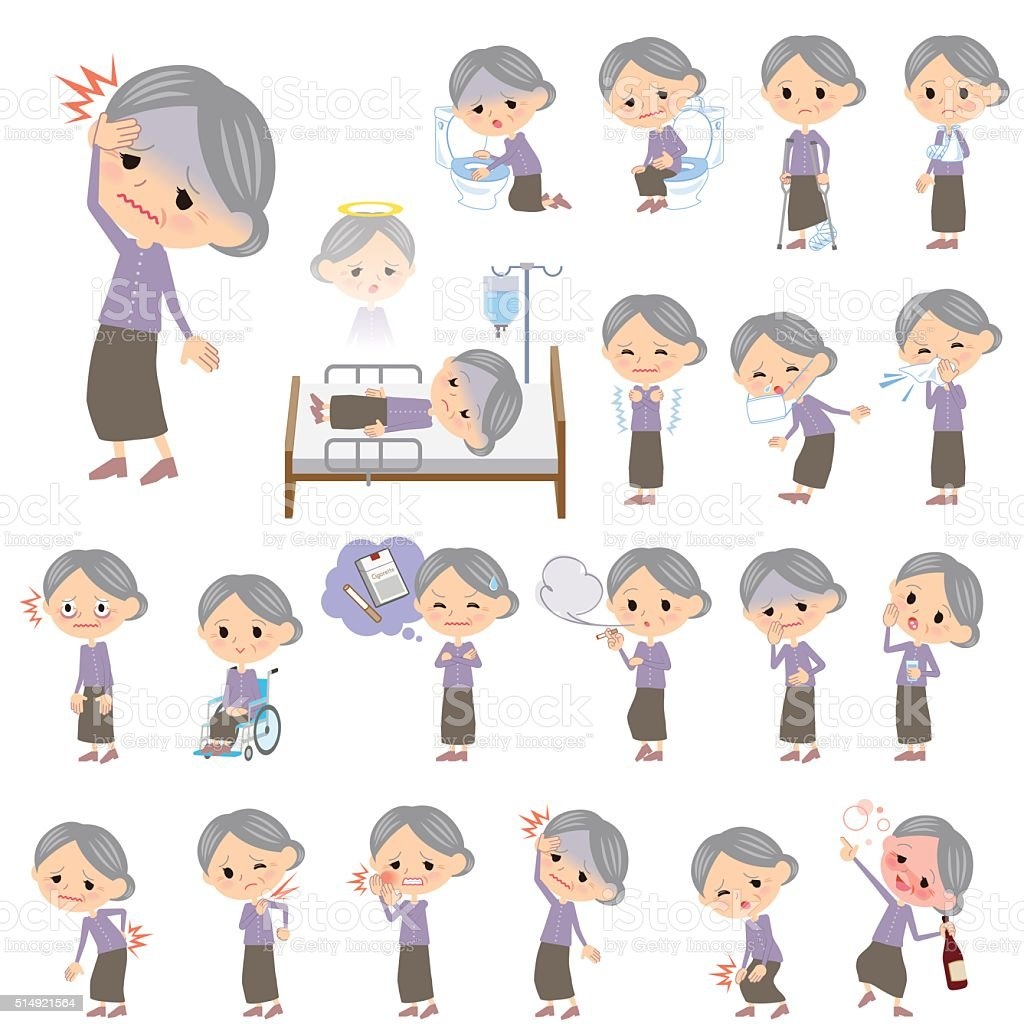 Purple clothes grandmother About the sickness vector art illustration