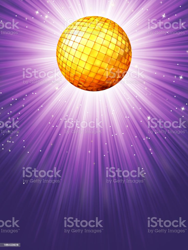 Purple disco rays with stars. EPS 8 royalty-free stock vector art