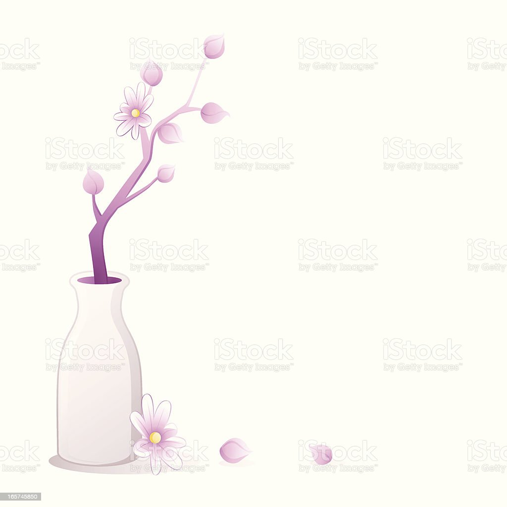 Purple floral branch in white vase royalty-free stock vector art