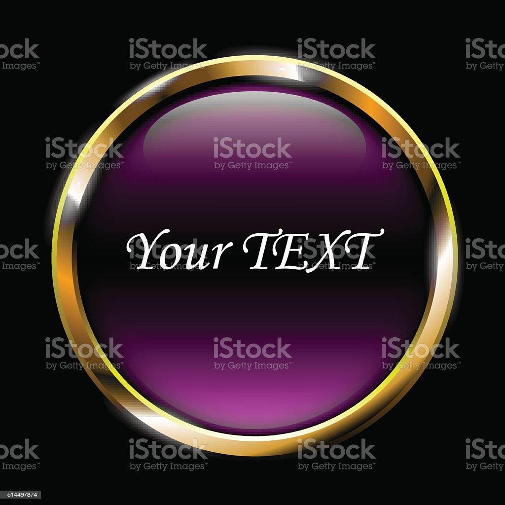 purple glossy button on black background vector illustration vector art illustration