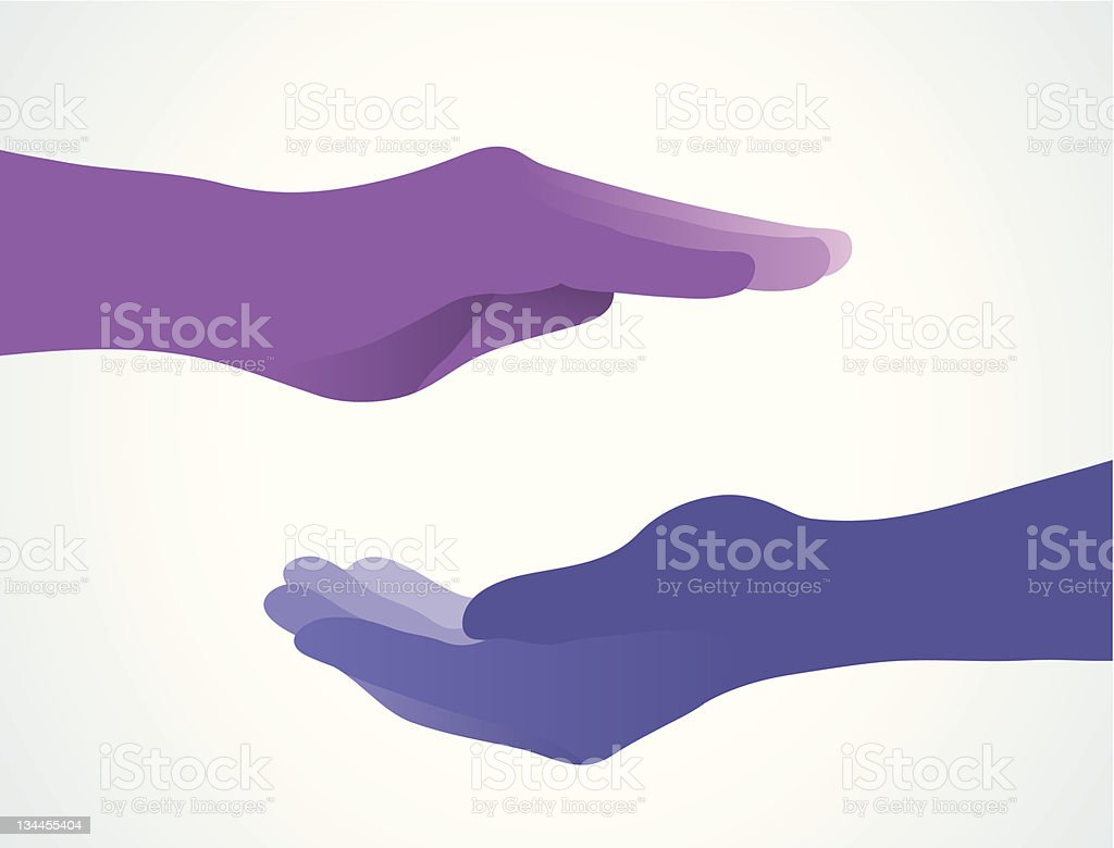 Purple hand meditating with blue hand vector art illustration