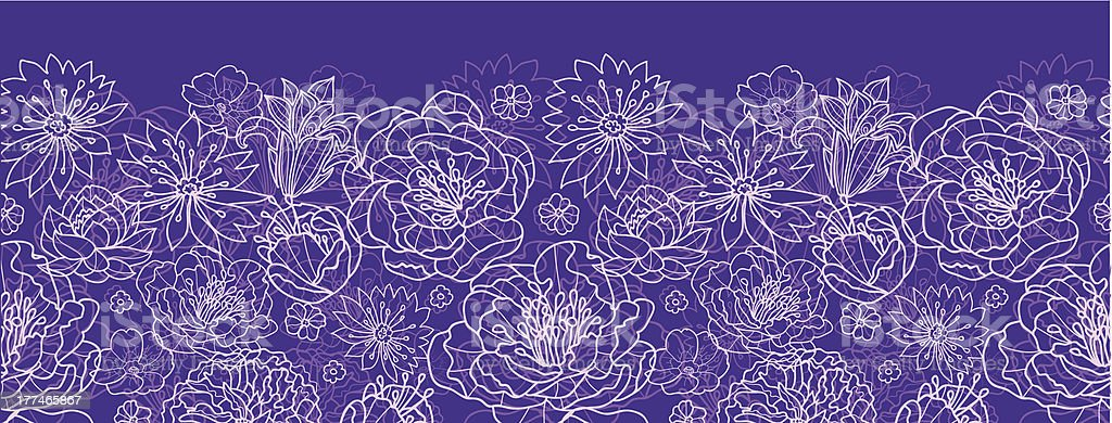 Purple lace flowers horizontal seamless pattern background border royalty-free stock vector art