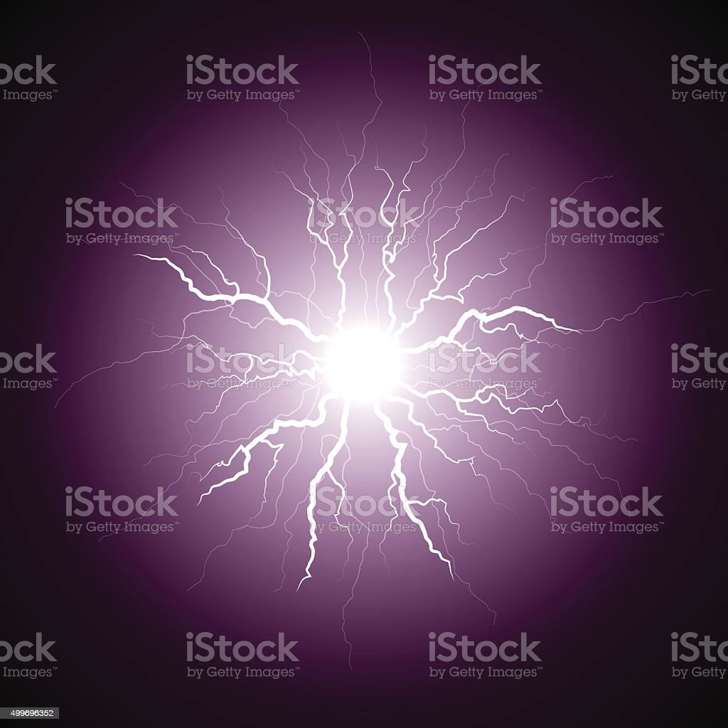 purple lightning from the center vector art illustration