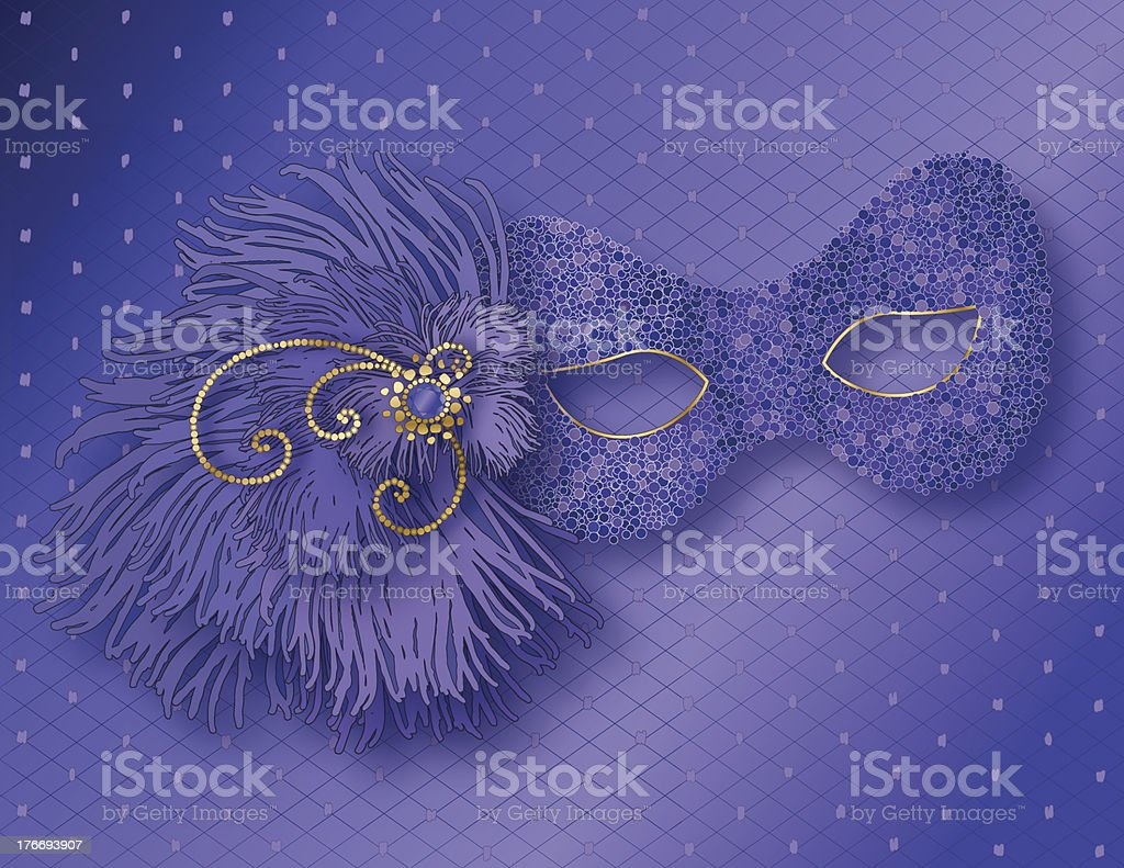Purple Mask with Feathers royalty-free stock vector art