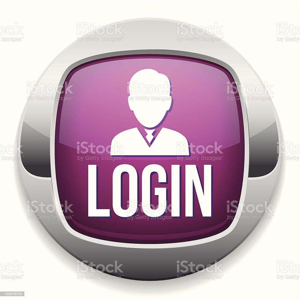 Purple metallic login button royalty-free stock vector art