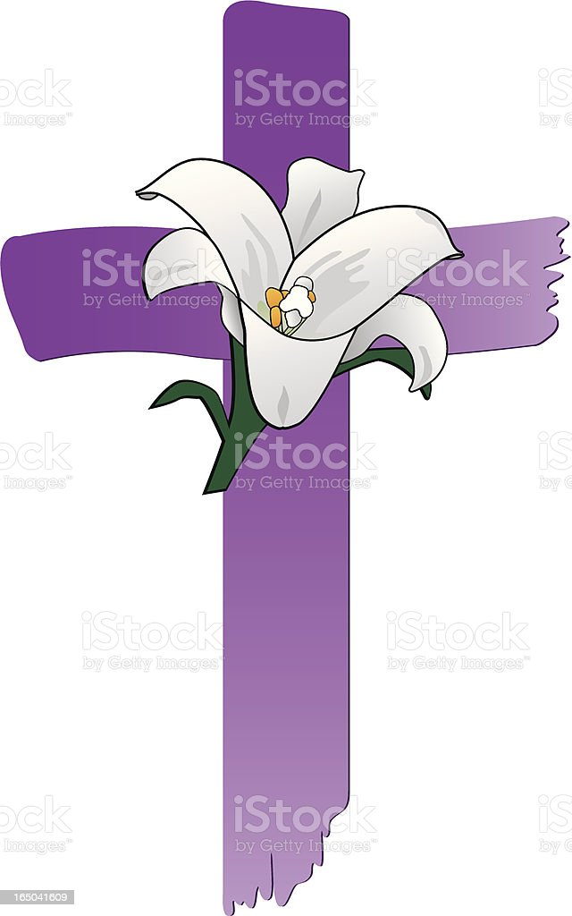 purple painted stroke cross and white lily royalty-free stock vector art