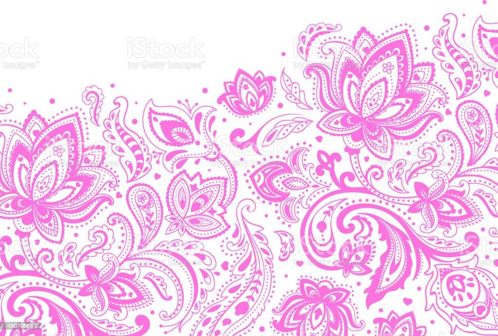 Purple paisley pattern on a white background vector art illustration