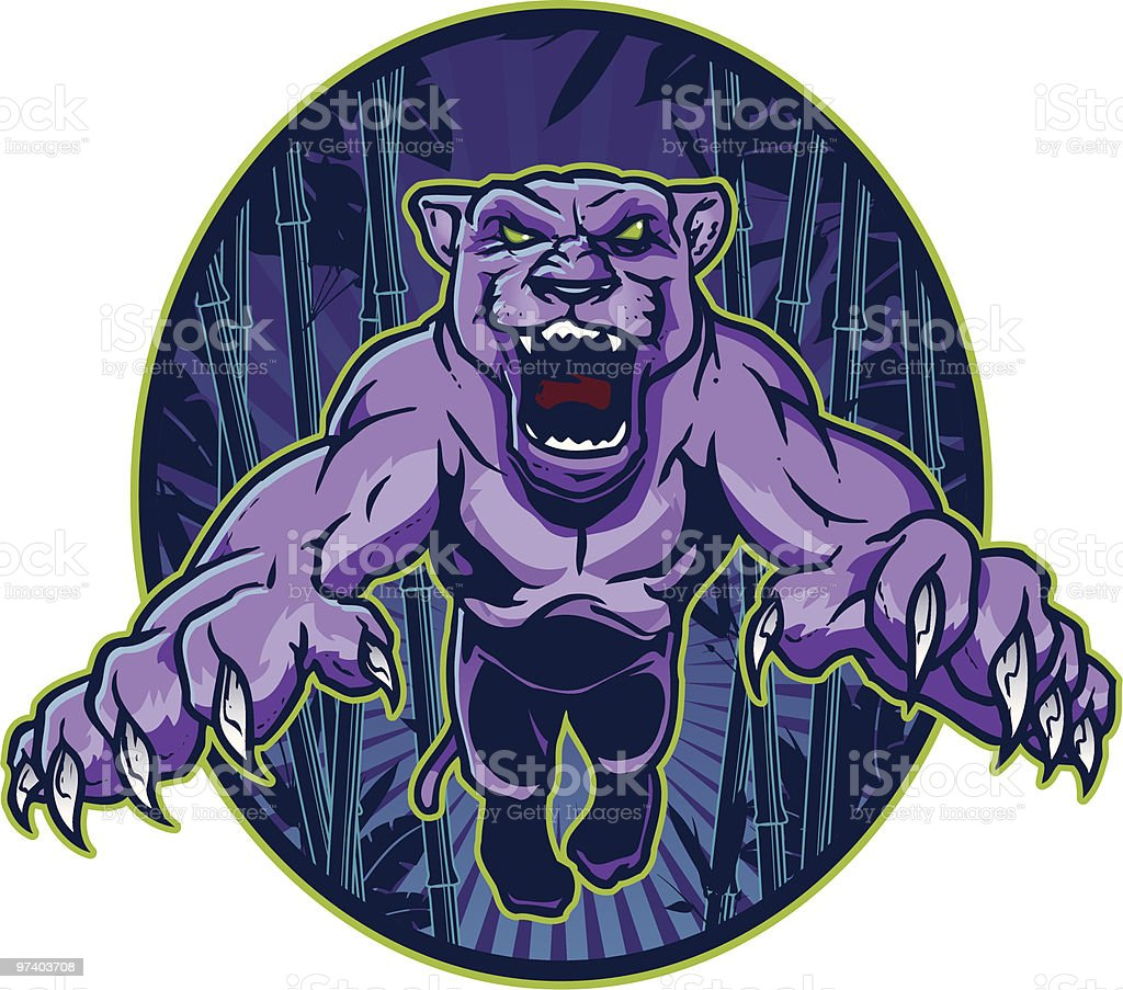 Purple Panther Leaping vector art illustration