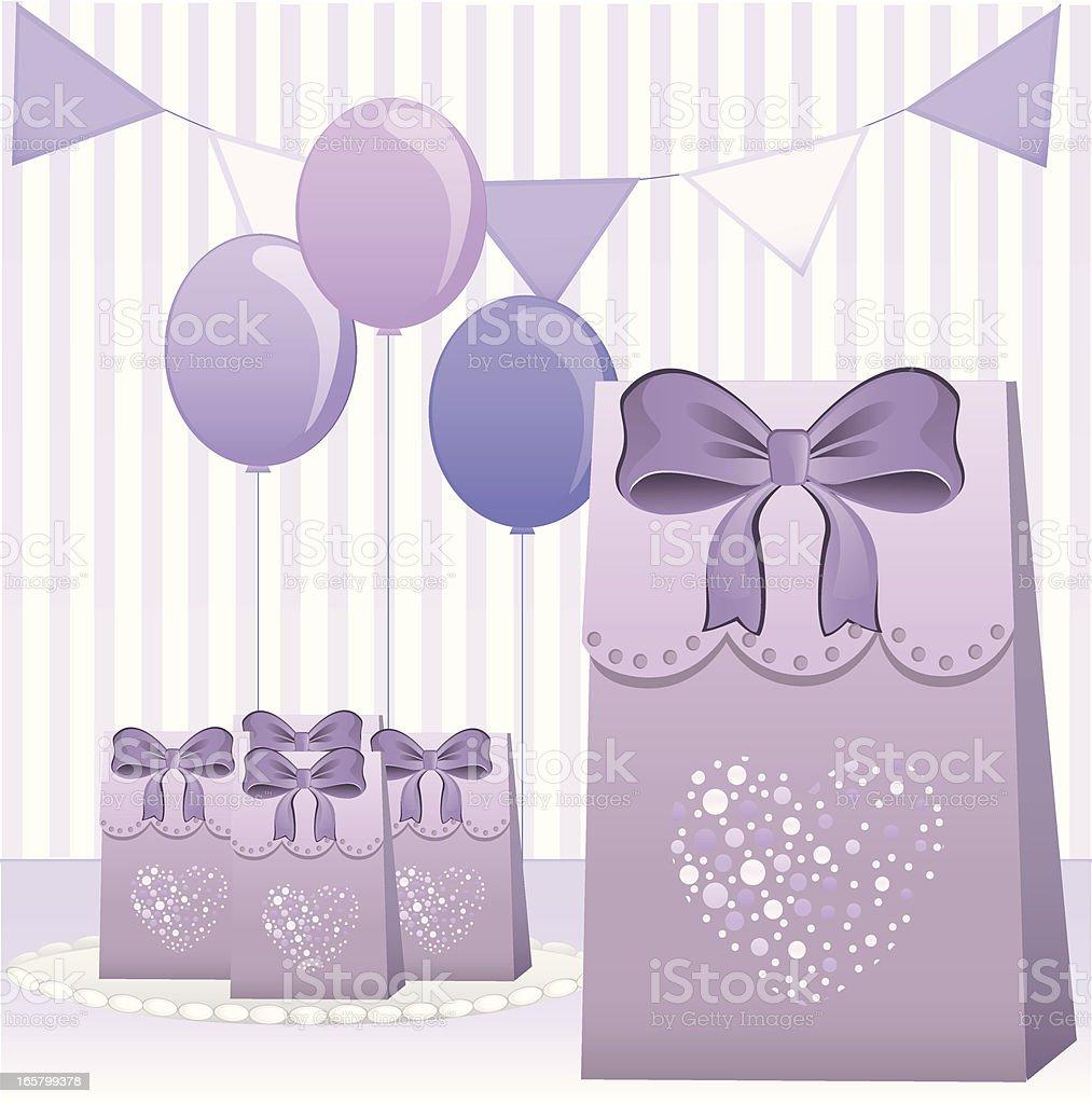 Purple Party Favors vector art illustration