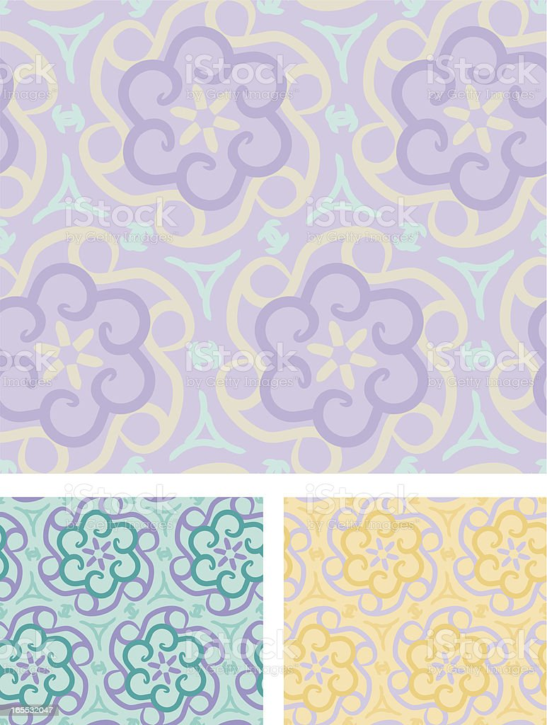 Purple Pastel Floral Cogs - seamless Pattern royalty-free stock vector art