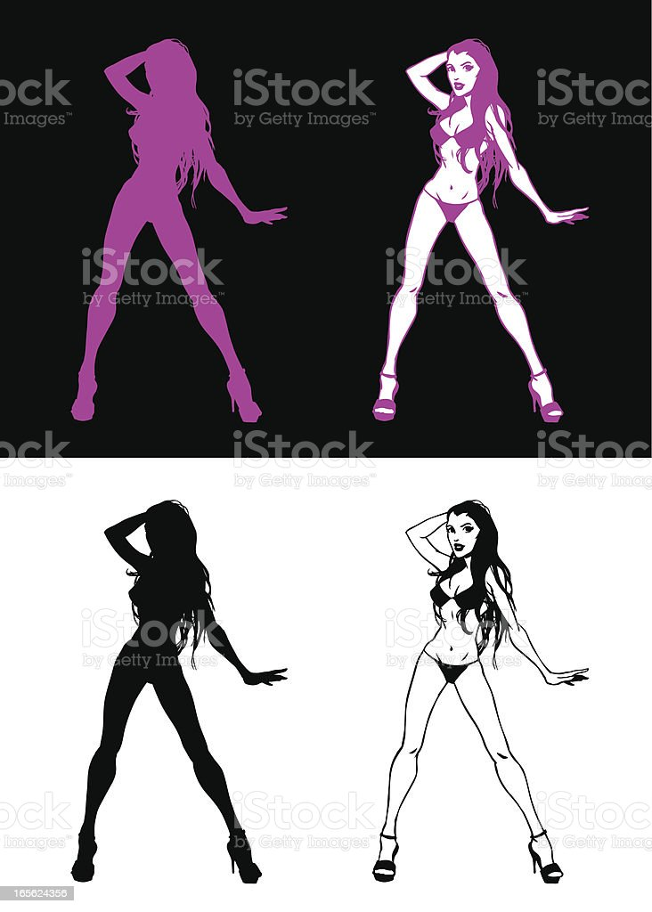 Purple Pin-Up royalty-free stock vector art