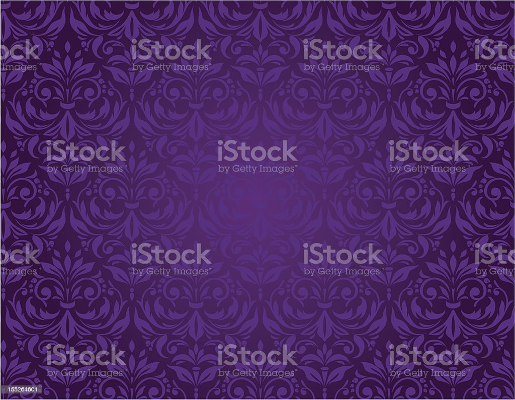 Purple seamless floral pattern with a vintage design royalty-free stock vector art