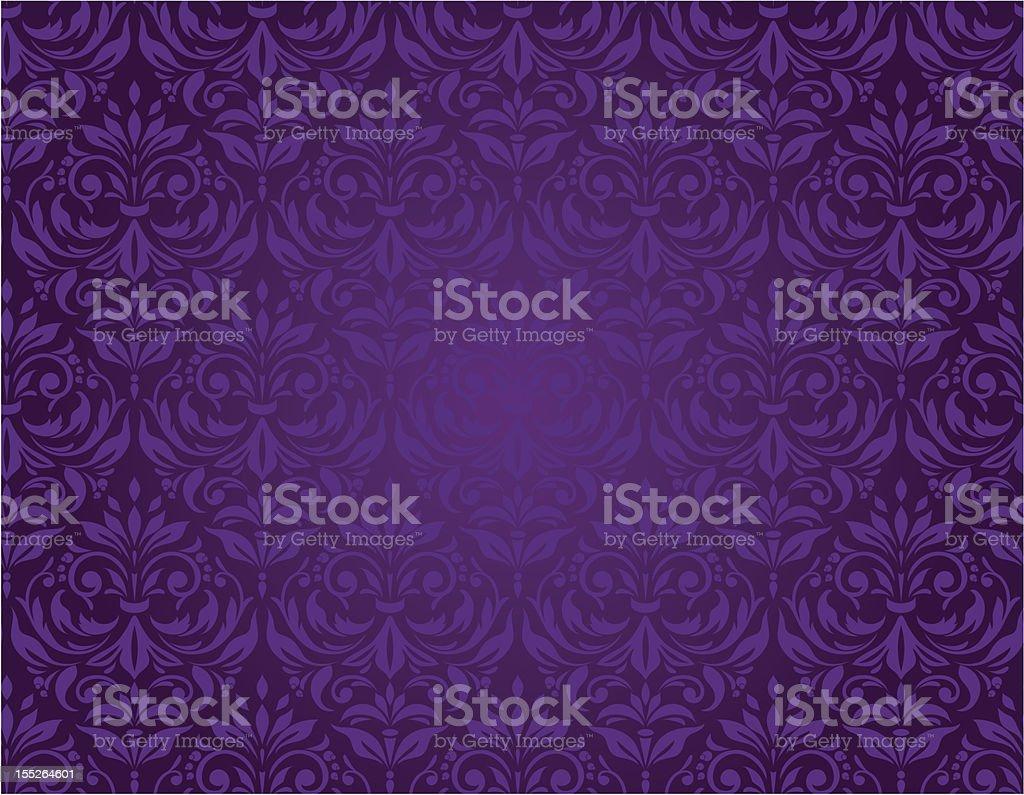 Purple seamless floral pattern with a vintage design vector art illustration