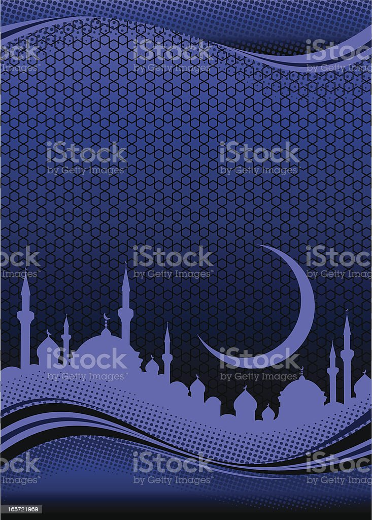 Purple silhouette of Middle Eastern city under crescent moon vector art illustration