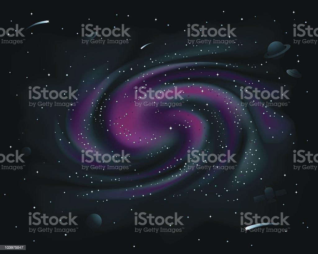 Purple Spiral Galaxy royalty-free stock vector art