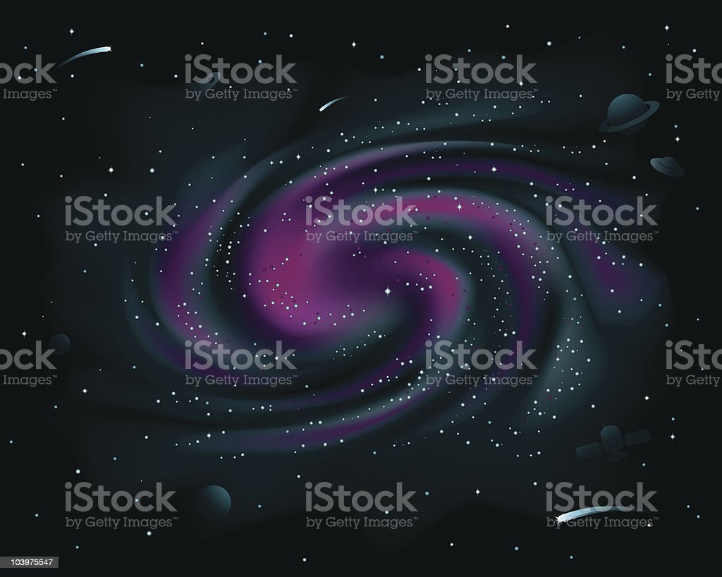 Purple Spiral Galaxy vector art illustration