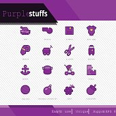 Purple stuffs vector icons set on white background.