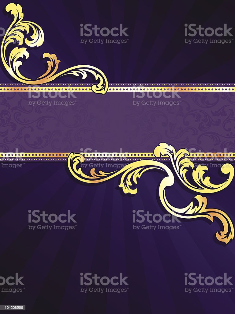 Purple vertical banner with gold filigree royalty-free stock vector art