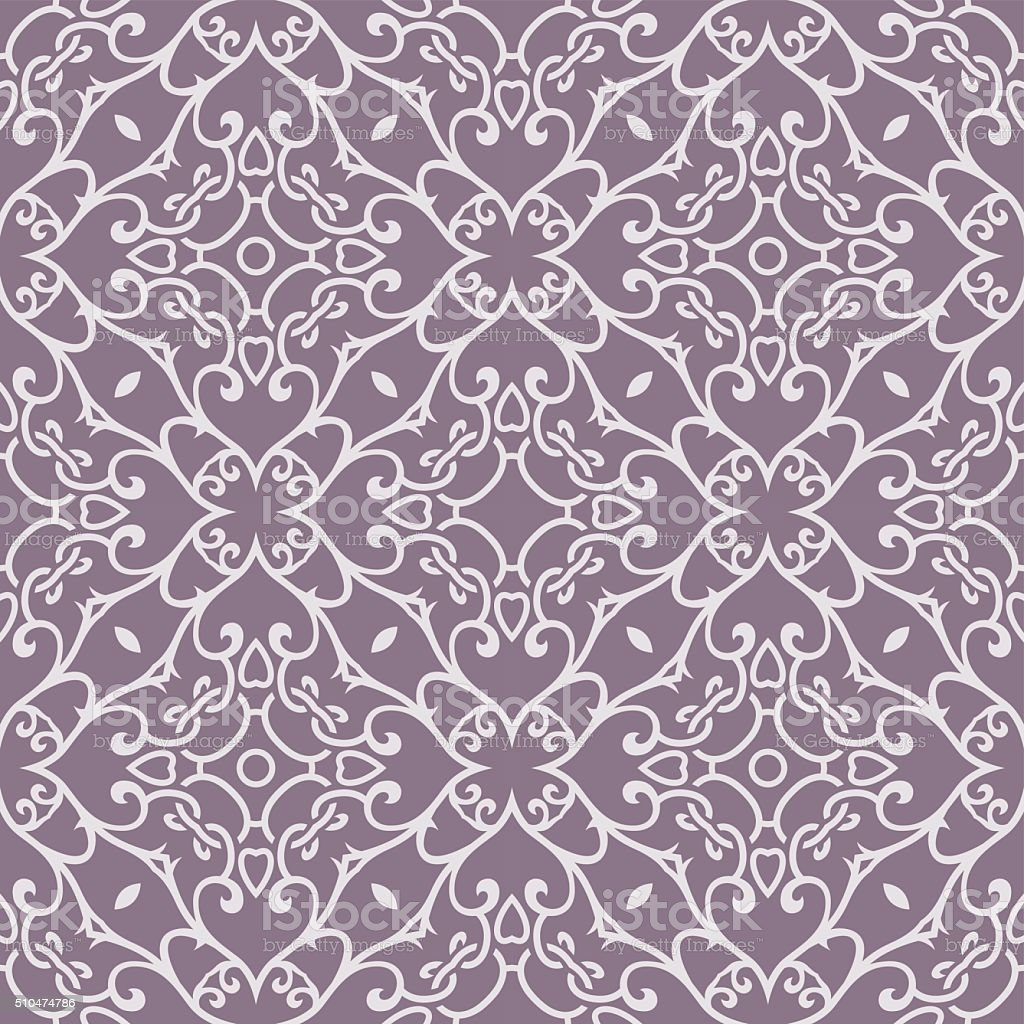 Purple Vintage Floral Seamless Pattern vector art illustration