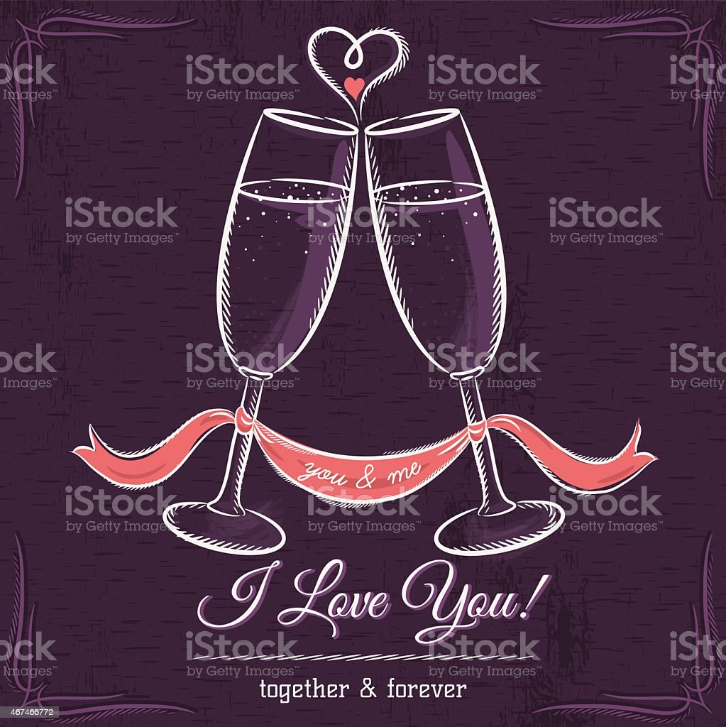 purple wedding card with two glass of wine vector art illustration