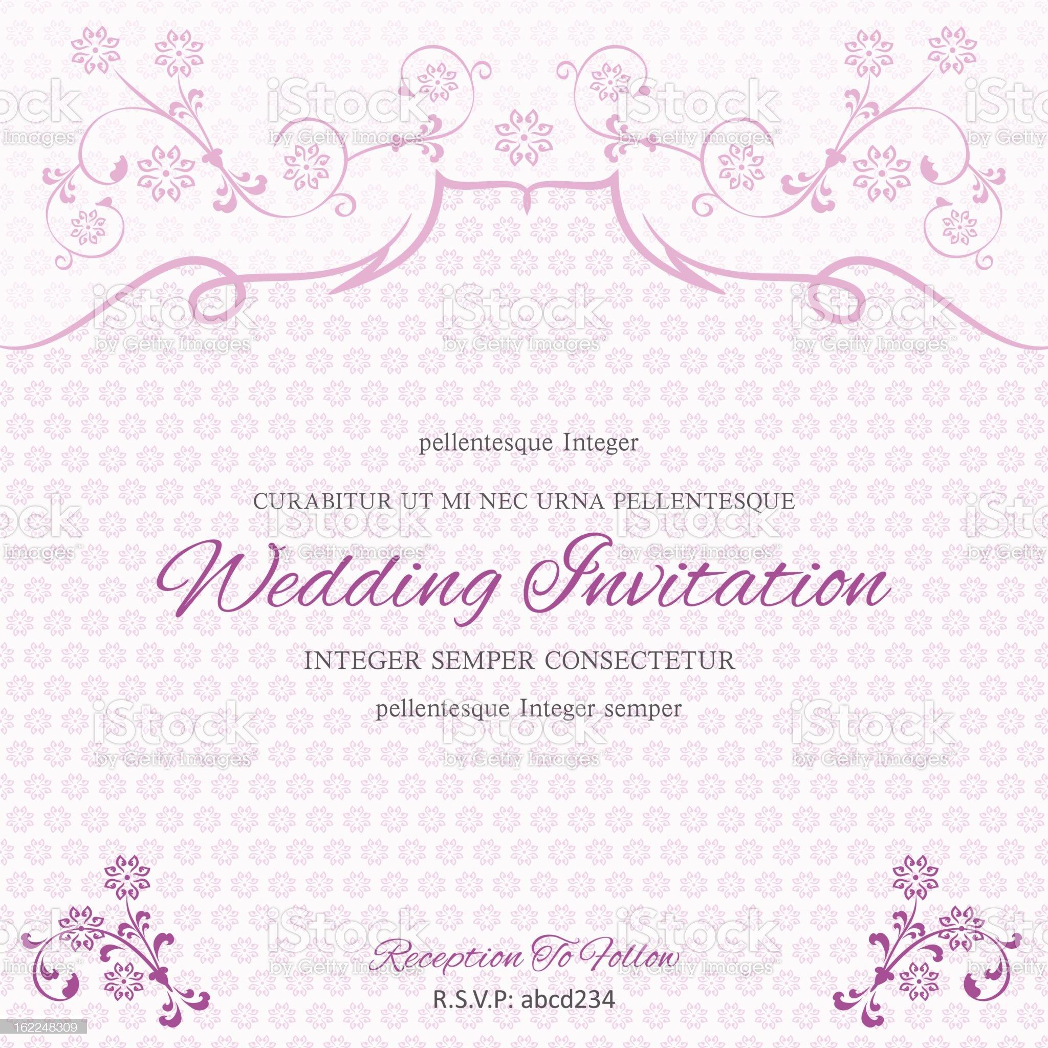 Purple Wedding Invitation Template royalty-free stock vector art