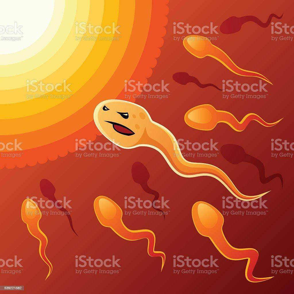 Purposeful spermatozoon vector art illustration