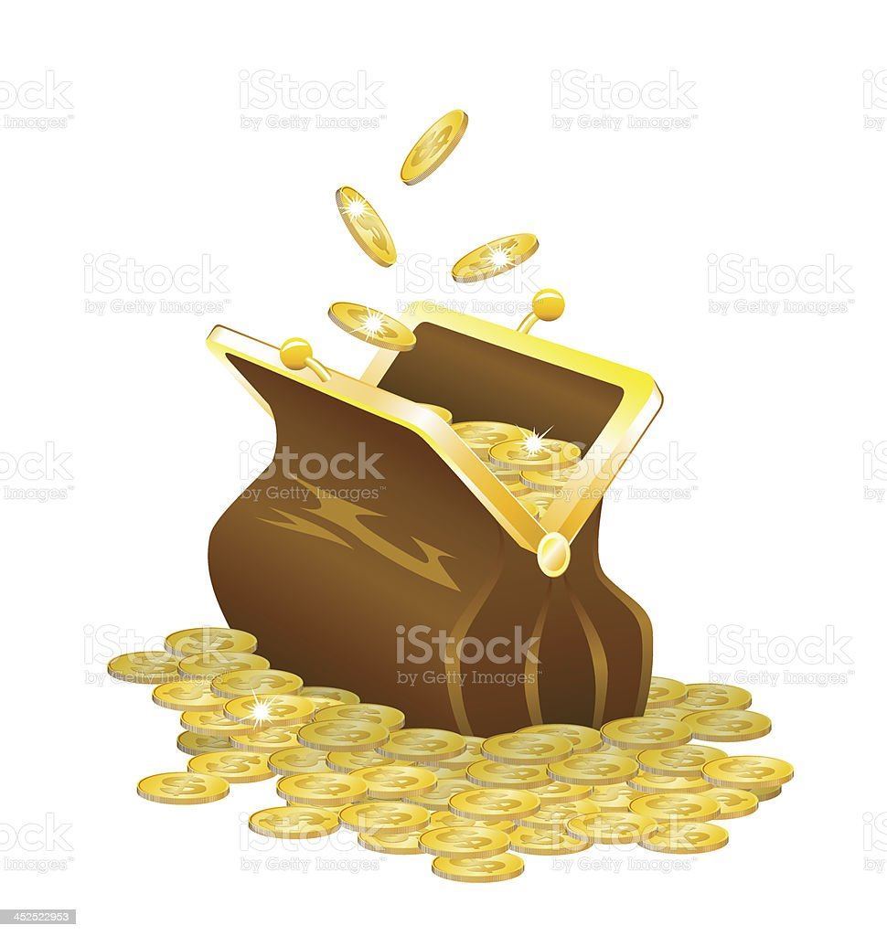 Purse and gold coins. vector art illustration