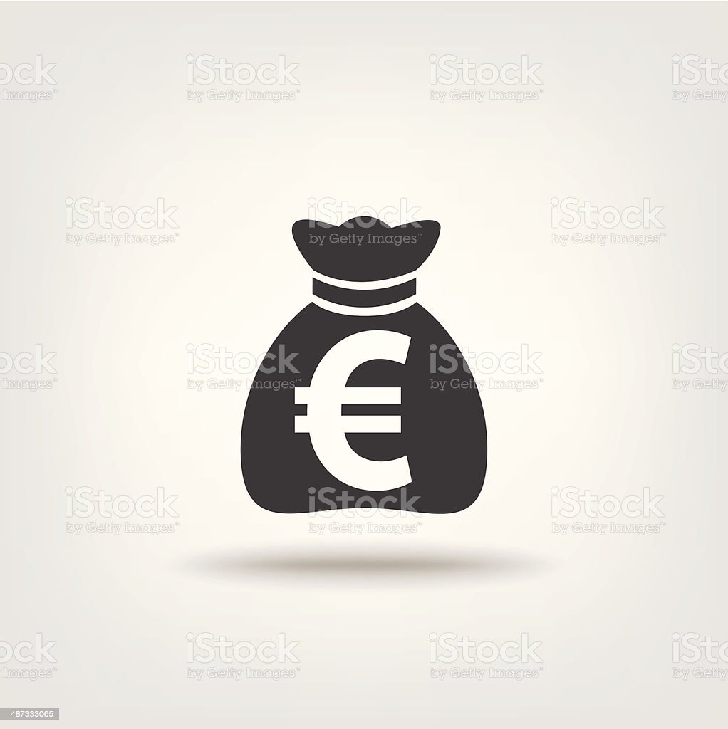 Purse money euro sign vector art illustration
