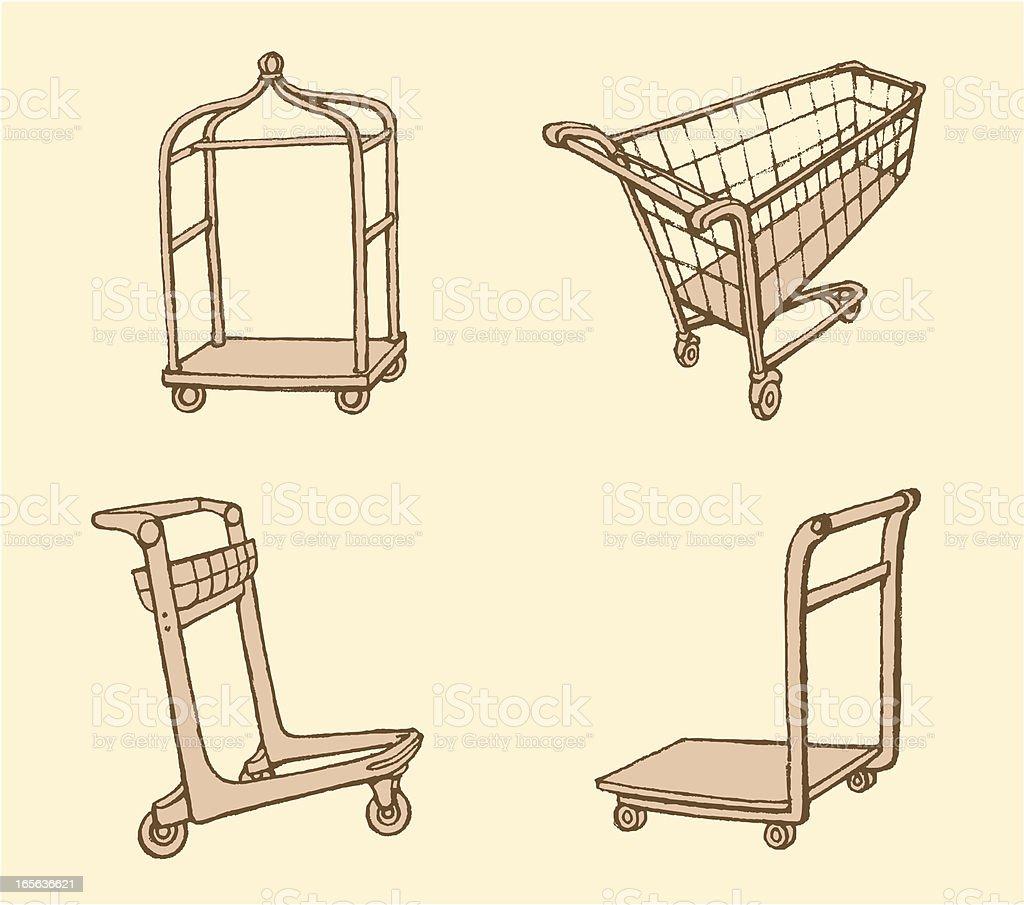 Push Cart Set royalty-free stock vector art