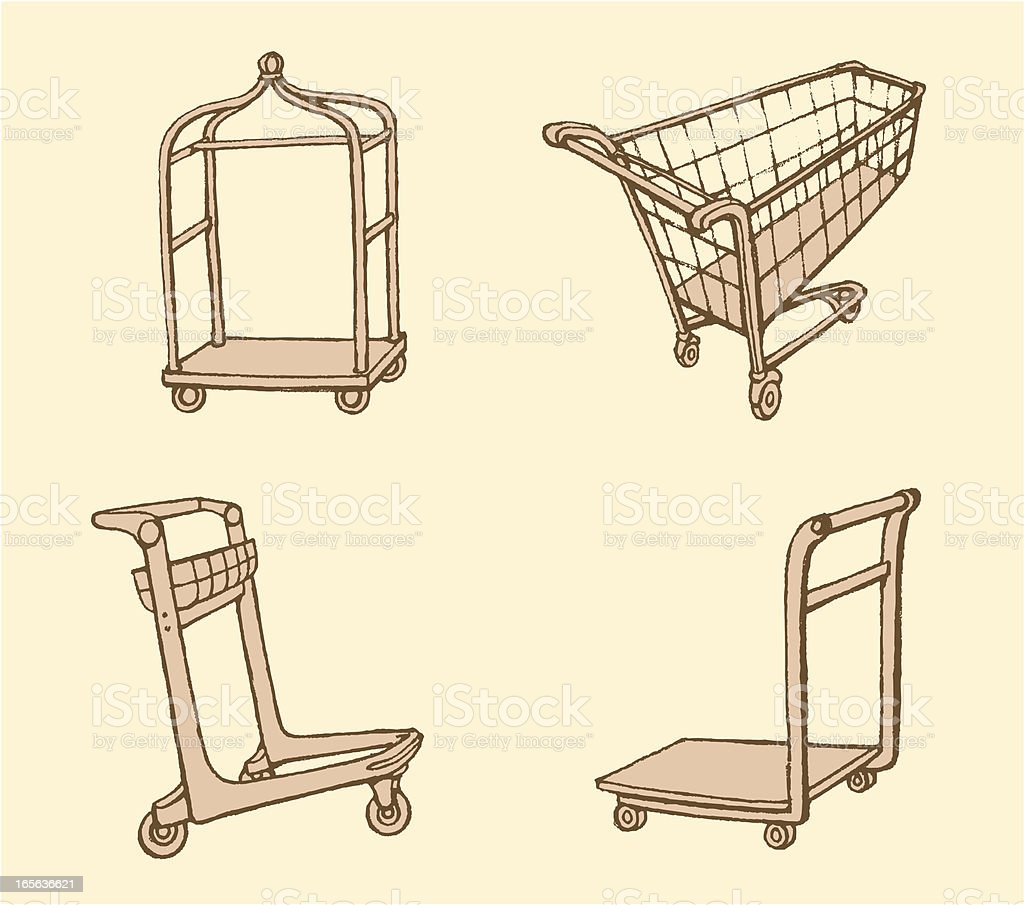 Push Cart Set vector art illustration