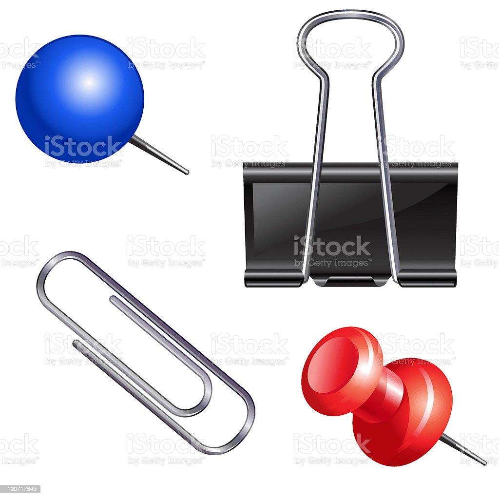Push pin set royalty-free stock vector art