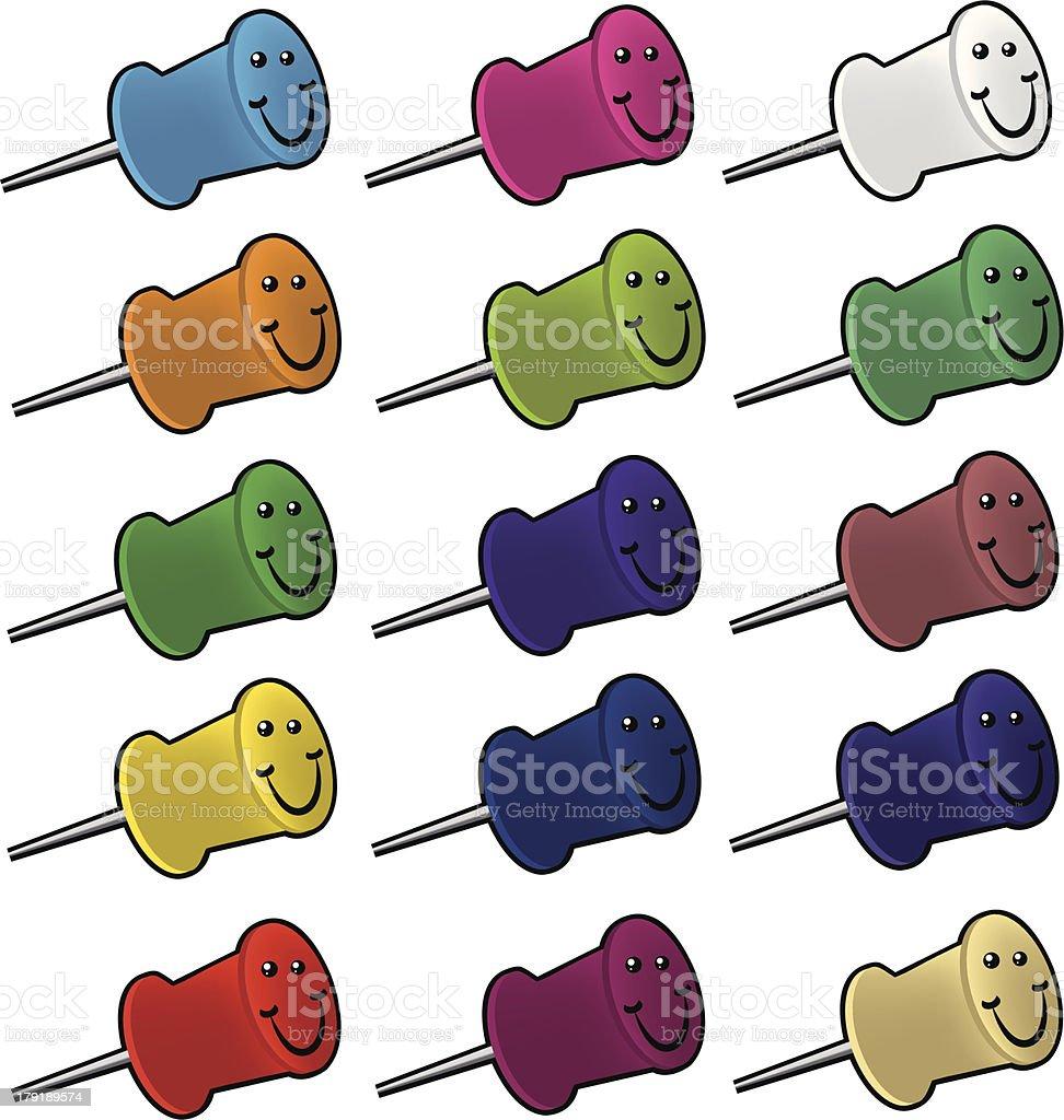 Push pins royalty-free stock vector art