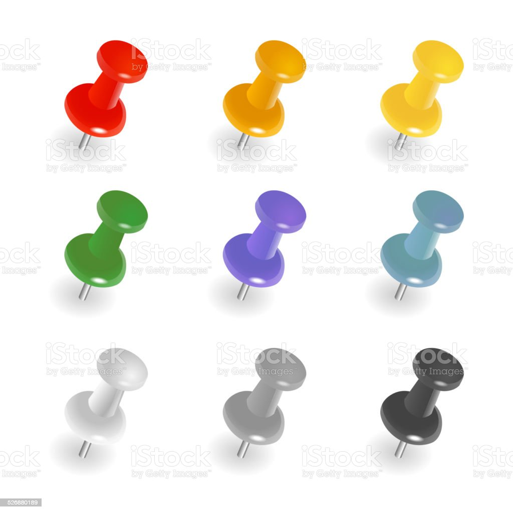 Push pins vector art illustration