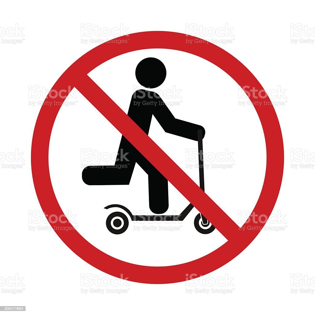 push scooter stop icon vector art illustration