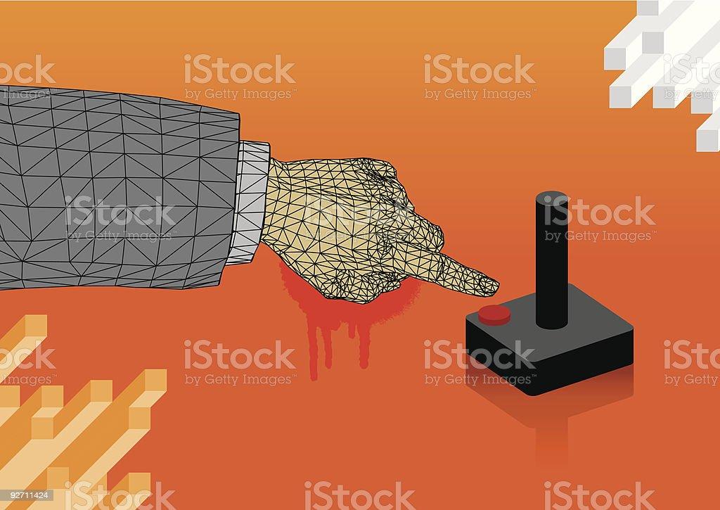 Push the button vector art illustration
