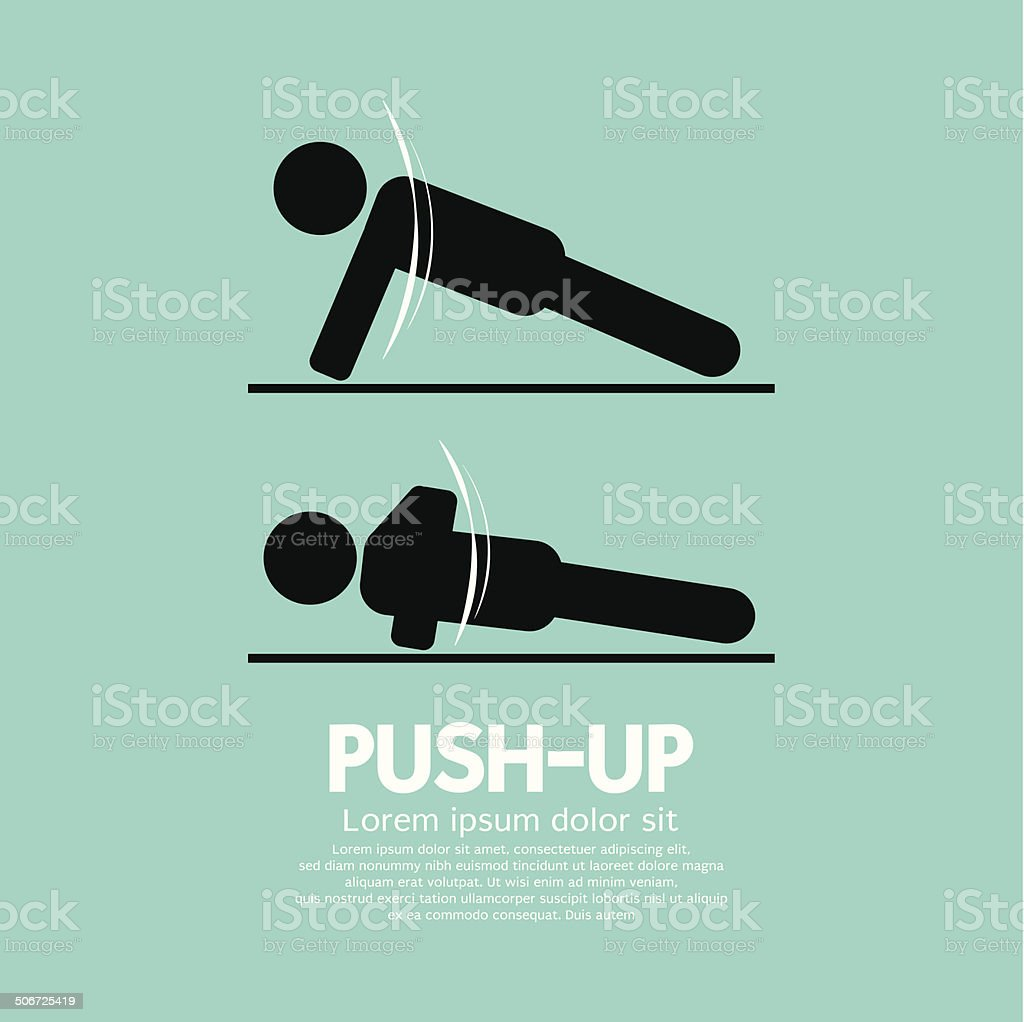 Push Up Sport Sign Vector Illustration vector art illustration