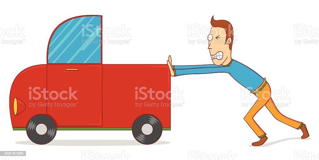 pushing a car vector art illustration