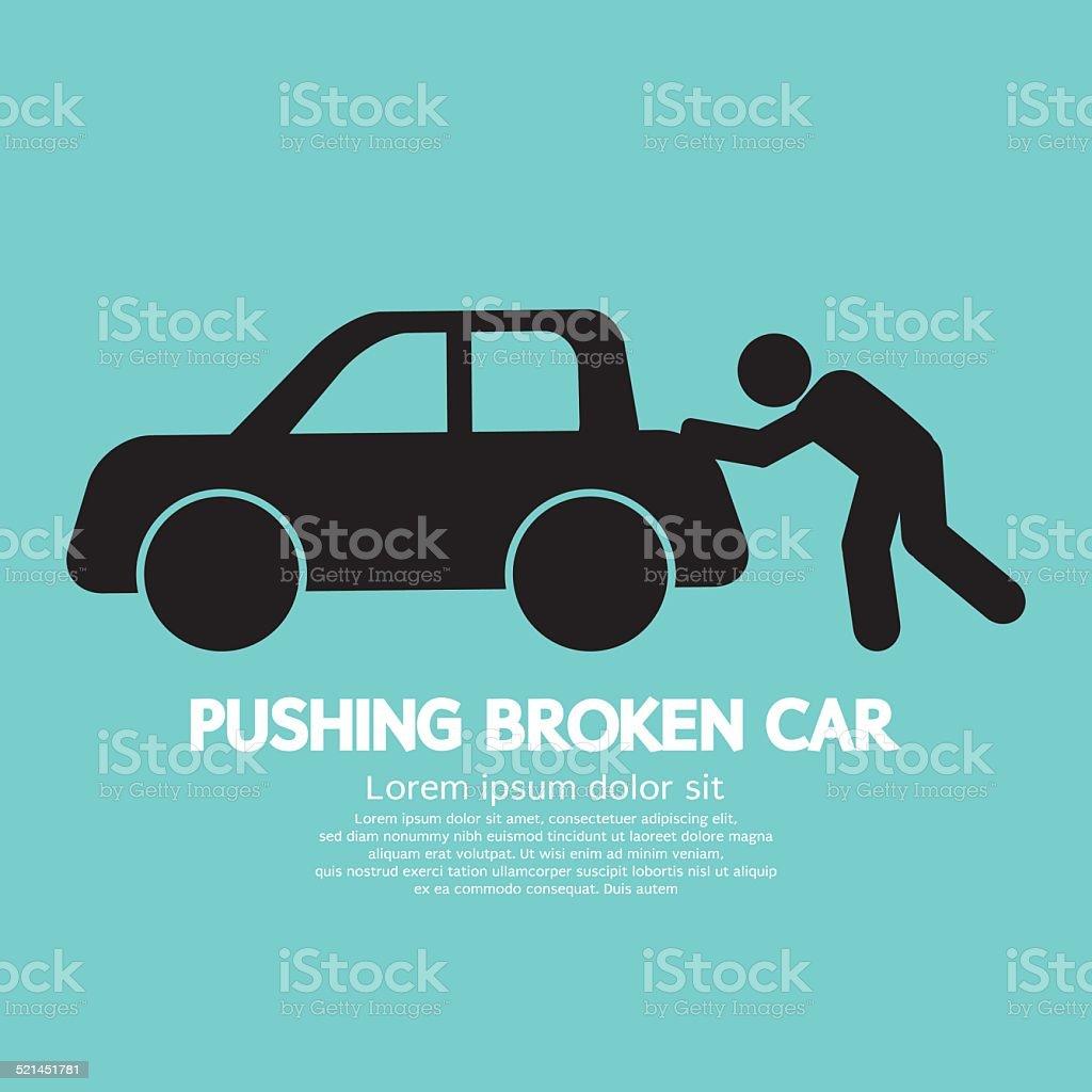 Pushing Broken Car Graphic Symbol Vector Illustration vector art illustration