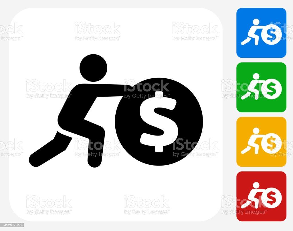 Pushing Coin Icon Flat Graphic Design vector art illustration