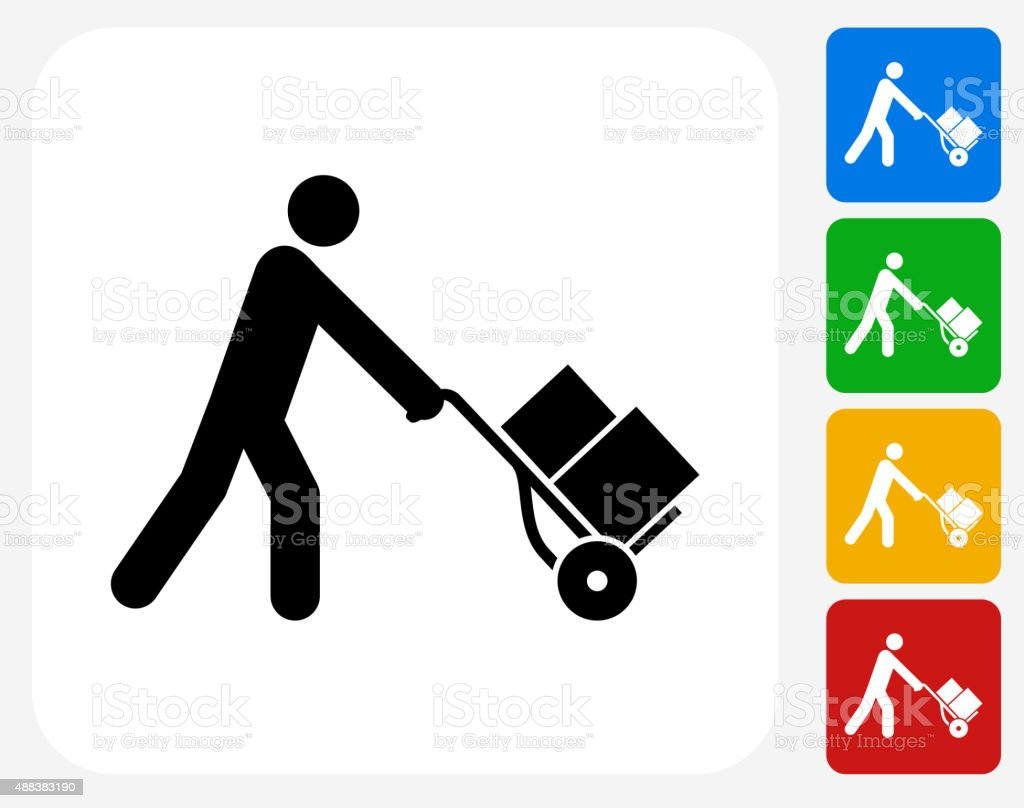 Pushing Luggage Cart Icon Flat Graphic Design vector art illustration