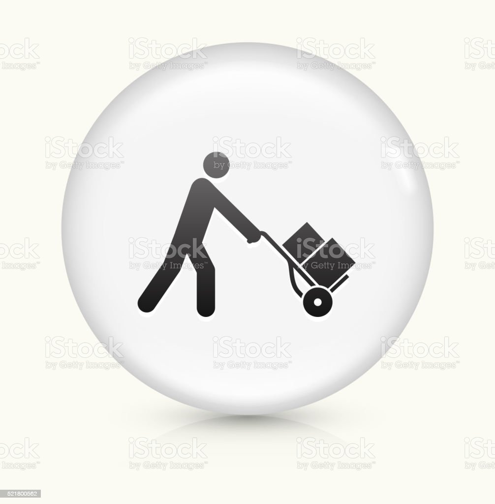 Pushing Luggage Cart icon on white round vector button vector art illustration