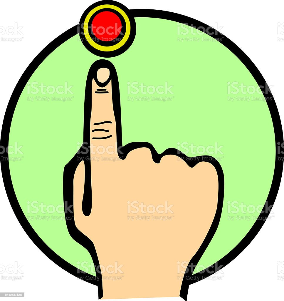 pushing the red button royalty-free stock vector art