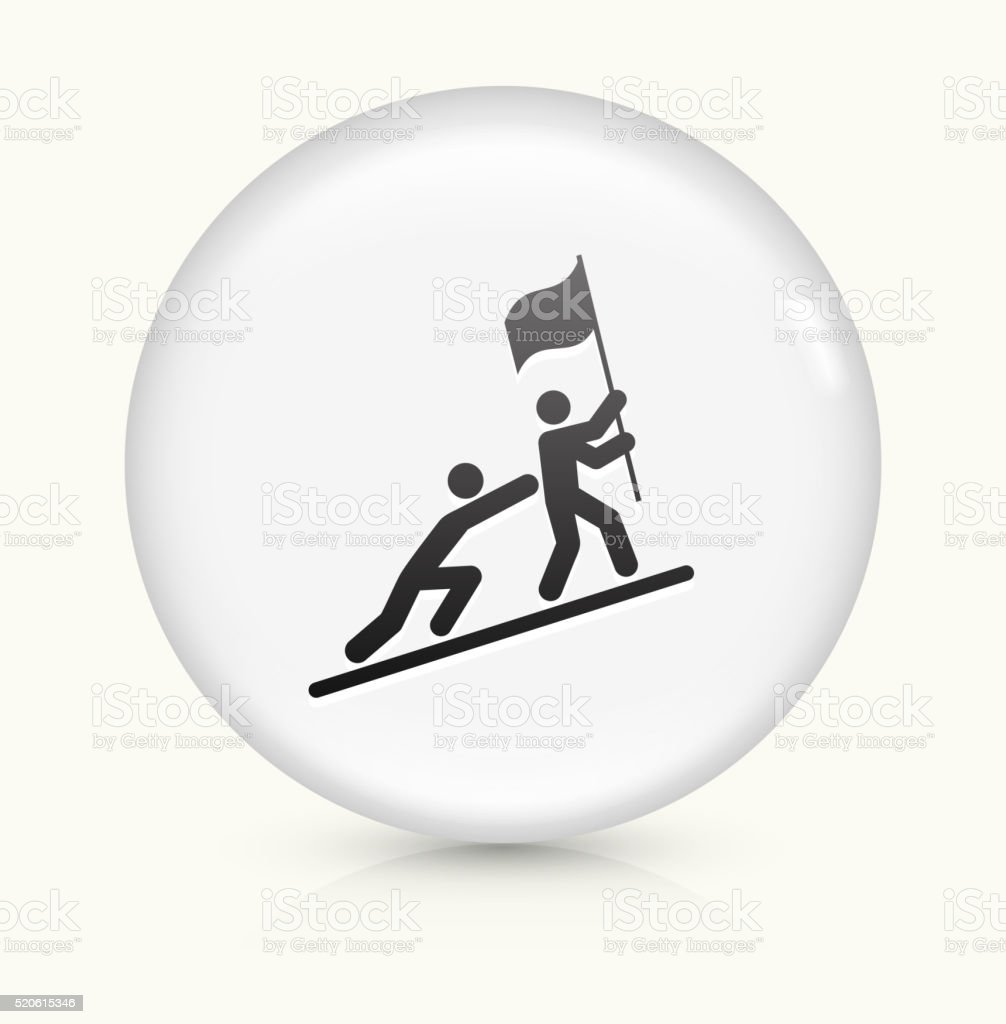 Pushing to Success icon on white round vector button vector art illustration