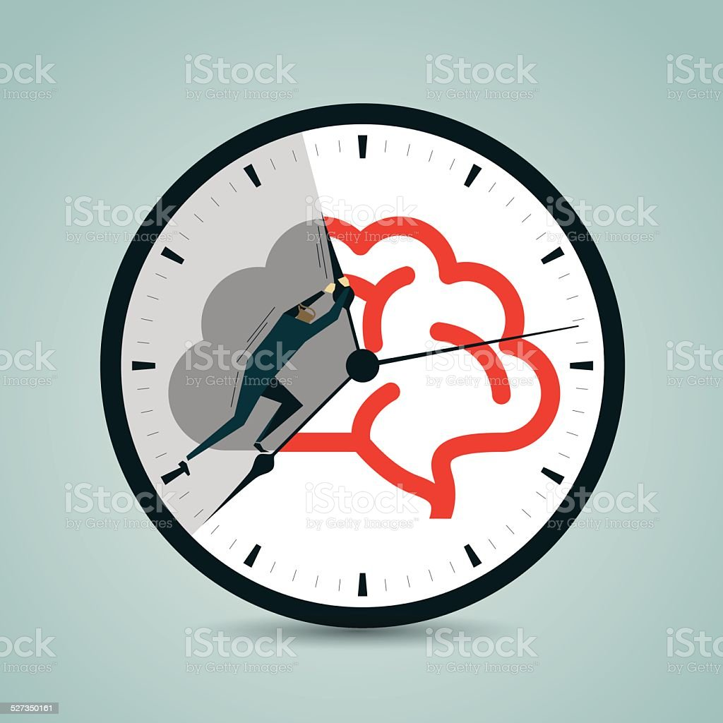 Pushing,Challenge, Struggle, Clock,Time,Time Flies,Circle,Speed vector art illustration