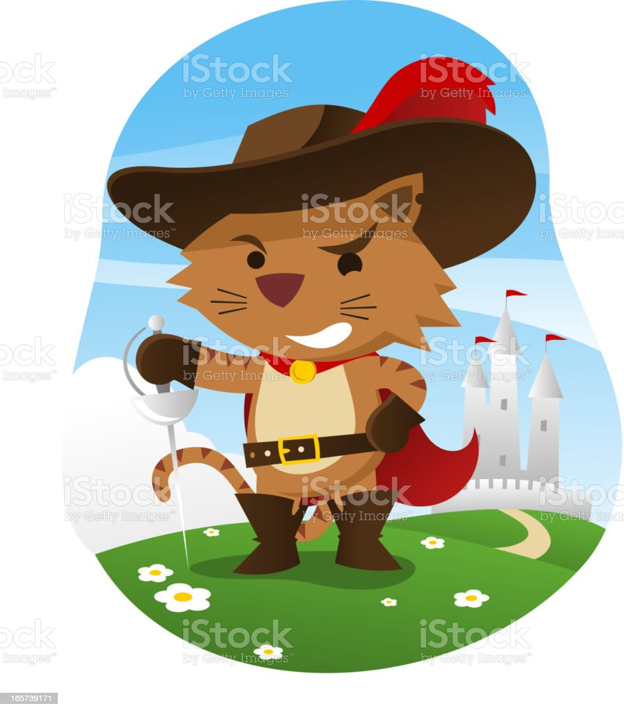 Puss in boots with wise funny face and sword vector art illustration