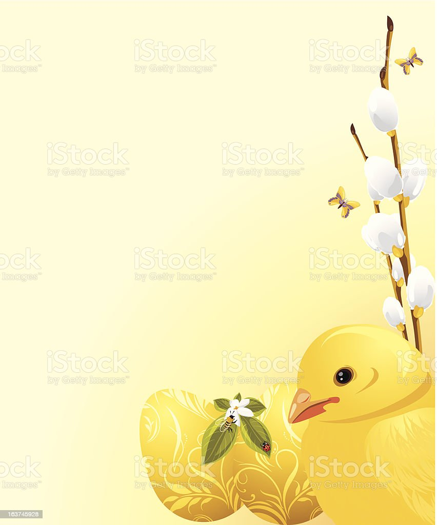 Pussy willow branch, Easter eggs and chick royalty-free stock vector art
